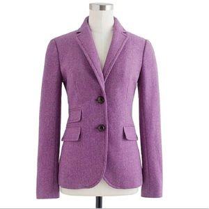 J Crew Purple herringbone 100% wool blazer Hacking